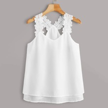 Plus Lace Panel Solid Chiffon Cami Top