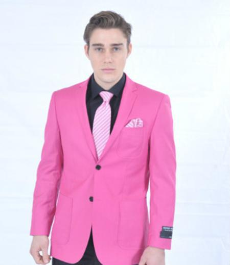 Mens Fitted Premium Blazer Fuschia