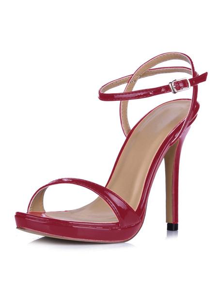 Milanoo Sandalias de tacon de stiletto  Sandalias de puntera abierta Color liso estilo moderno para mujer
