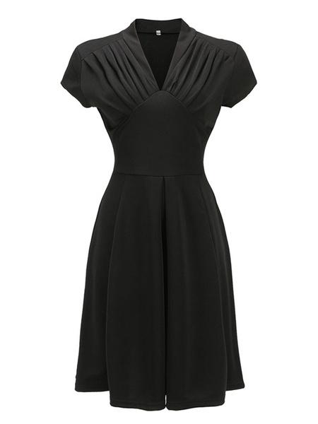 Milanoo Red Vintage Dress 1950s Short Sleeve Ruched V Neck Women Swing Dress