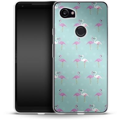 Google Pixel 2 XL Silikon Handyhuelle - Two Flamingos von caseable Designs
