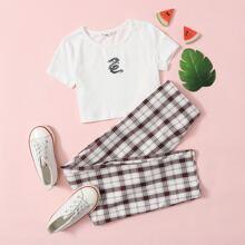 T-Shirt mit Drache Muster & Hose mit Karo Muster Set