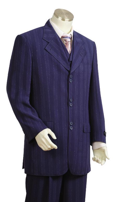 3 Piece 6 Button Navy Vested Fashion Suit Mens