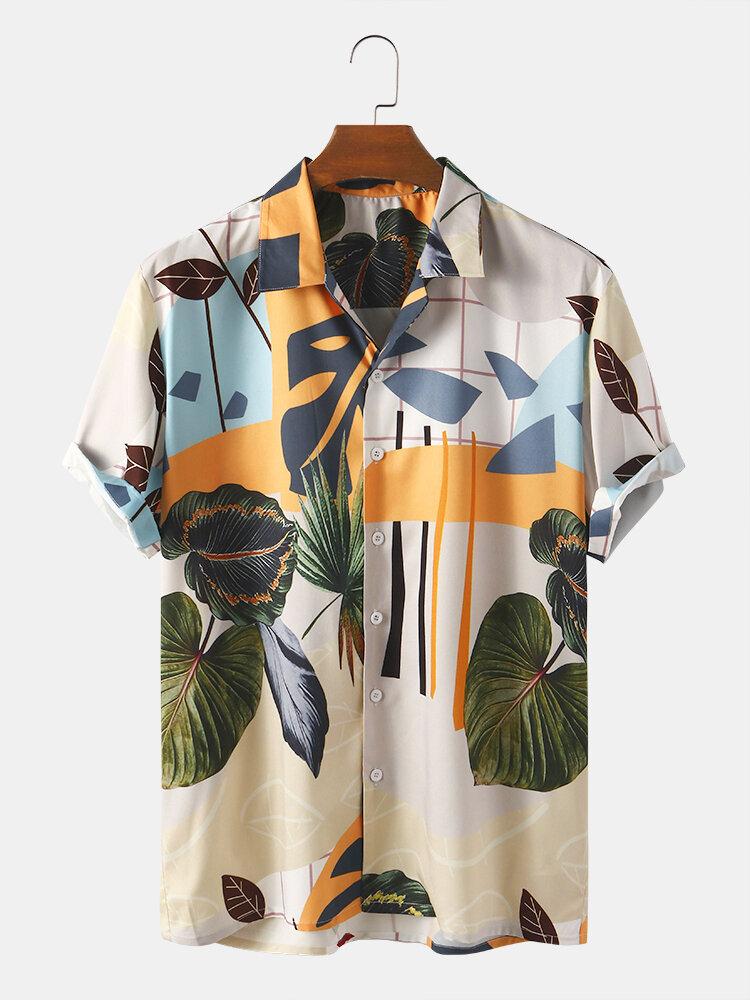 Men Abstract Leaf Print Beach Casual Lapel Shirt