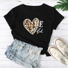 Leopard Heart & Slogan Graphic Tee