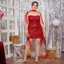 Kleid mit Pailletten, Netzstoff, Fransen und Ausschnitt