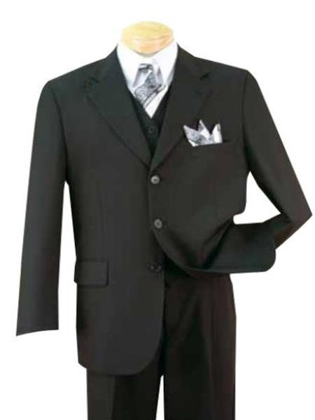 Alberto Nardoni Three Buttons 100% Wool Notch Lapel Suits Black