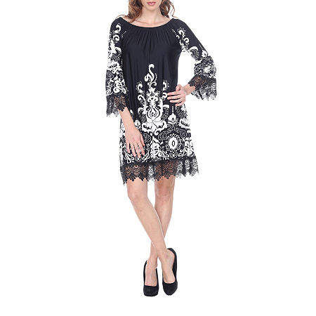 White Mark Uniss 3/4 Sleeve Paisley Sheath Dress, X-large , Black