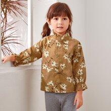 Kord Bluse mit Blumen Muster, Rueschenbesatz und Knopfen