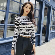 MeysiKim Letter & Striped Print Crop Tee