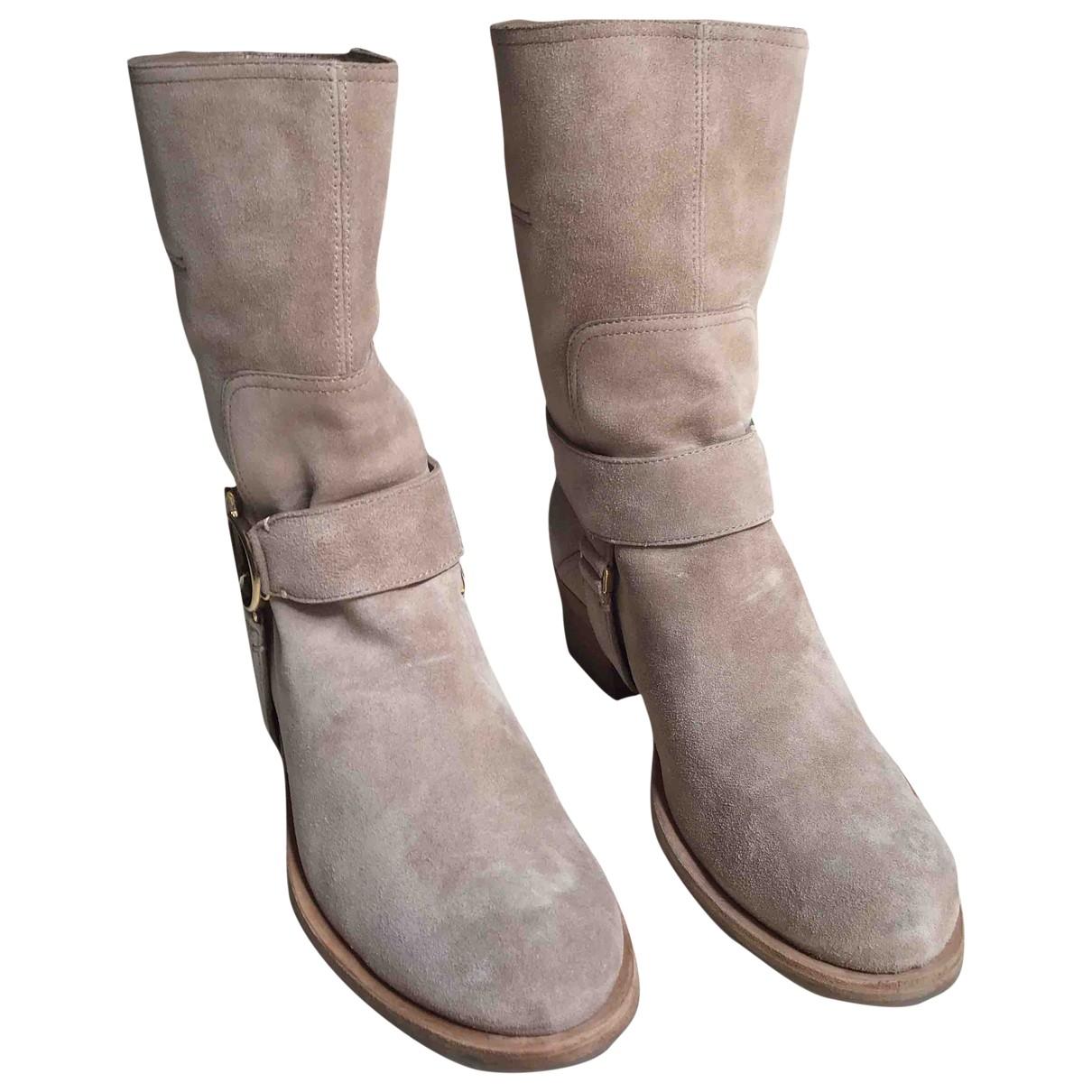Christian Dior - Bottes   pour femme en suede - beige
