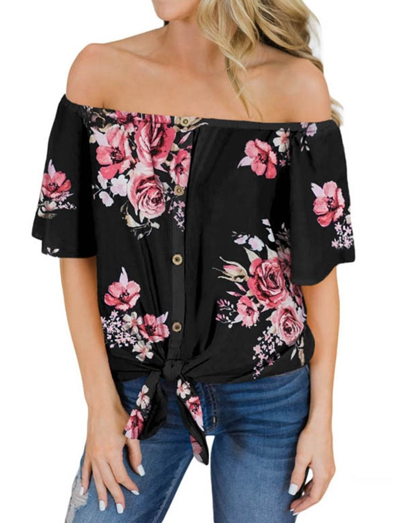 Ericdress Floral Off Shoulder Bowknot Short Sleeve Blouse