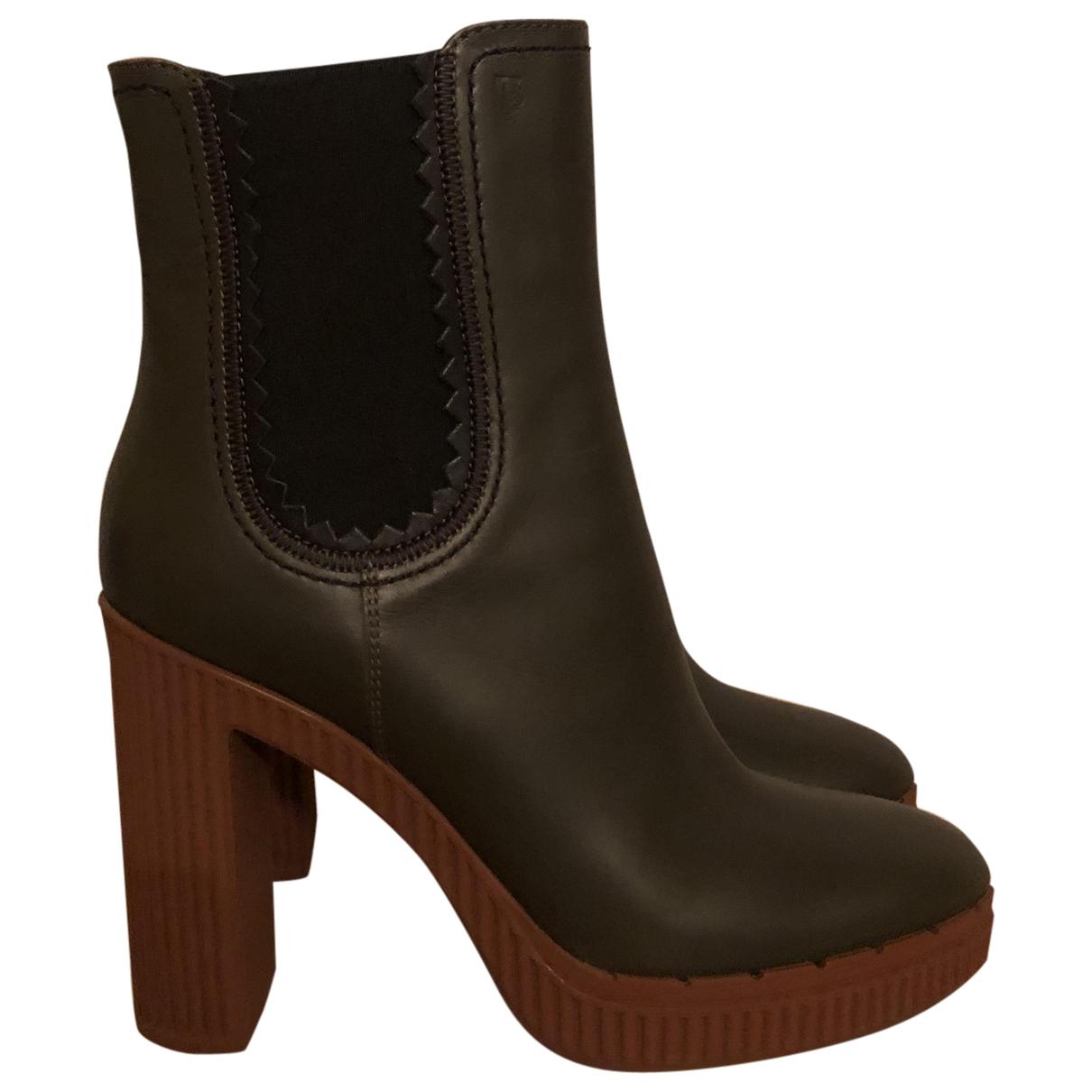 Tod's - Boots   pour femme en cuir - vert