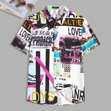 Maenner Hemd mit ueberallem Buchstaben Grafik
