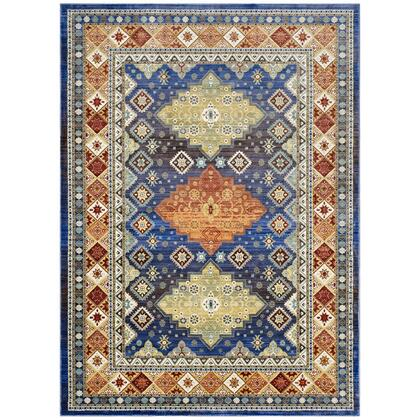 Atzi Collection R-1117A-810 Distressed  Southwestern Diamond Floral 8x10 Area Rug in Multicolored