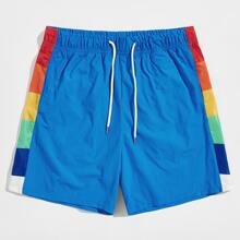 Men Contrast Colorblock Sideseam Drawstring Waist Shorts