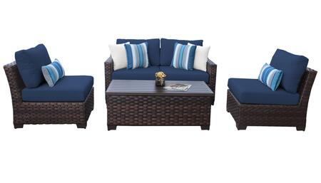 RIVER-05d-NAVY Kathy Ireland Homes and Gardens River Brook 5-Piece Wicker Patio Set 05d - 1 Set of Truffle and 1 Set of Midnight