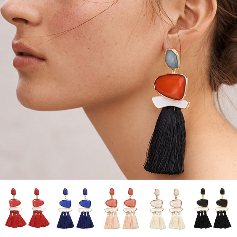 Stylish Womens Geometric Multicolored Cotton Tassels Resin Crystal Earrings Sweater Accessory
