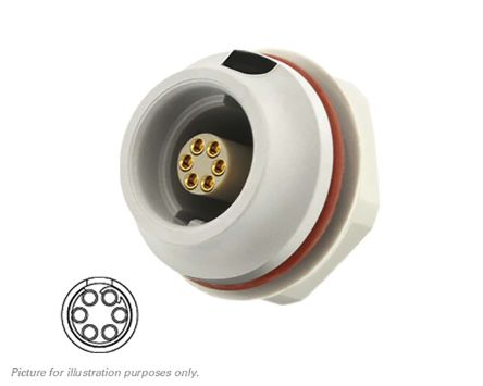 Souriau Circular Connector, 6 contacts Front Mount Socket, Crimp IP68