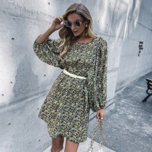 Ditsy Floral Tie Back Tunic Dress Without Belt