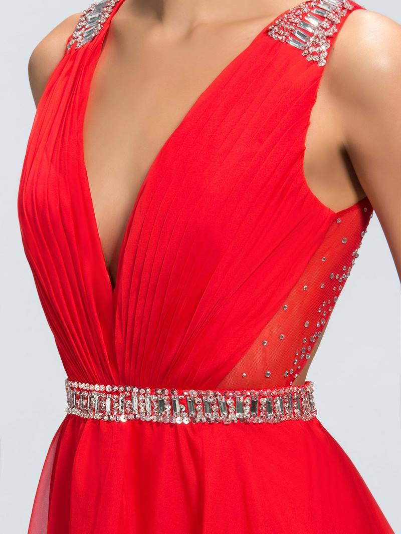 Epidemic Deep V-Neck Open Back Chiffon Prom Dress