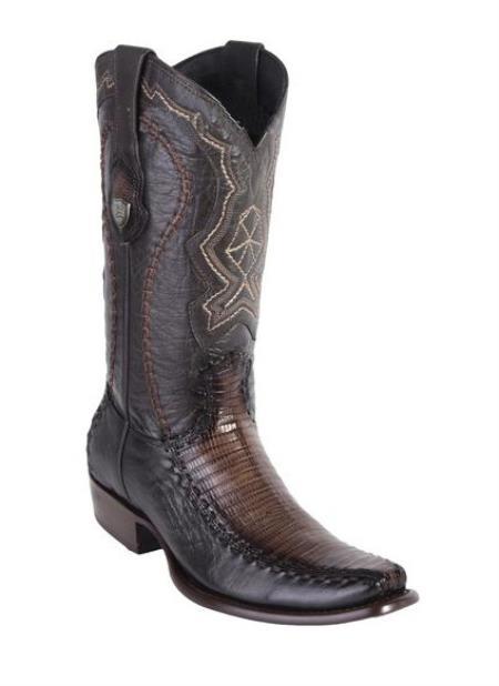 Men's Wild West Toe Faded Brown Teju Lizard Deer Boots Handcrafted