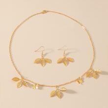 3pcs Leaf Decor Jewelry Set