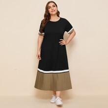 Kleid mit Kontrast, Falten am Saum und Farbblock