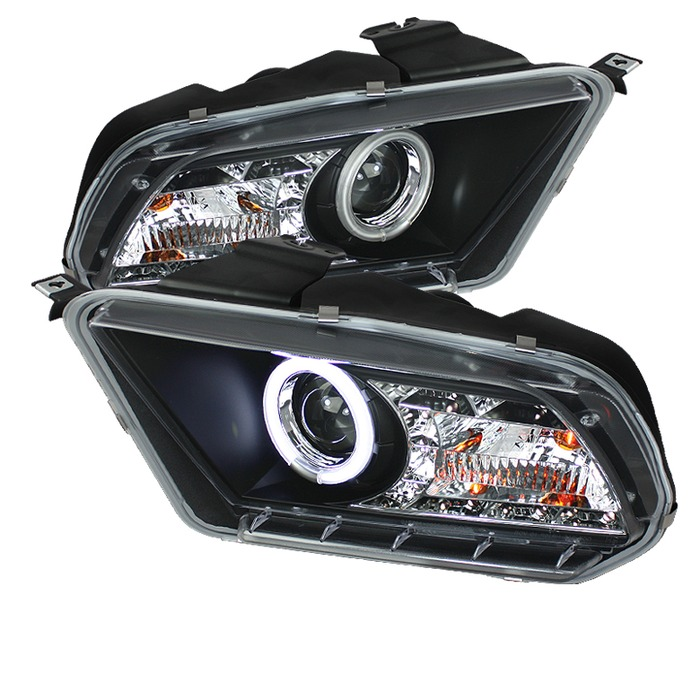 Spyder Auto PRO-YD-FM2010-CCFL-DRL-BK Black DRL CCFL Halo Projector Headlights with High H7 and Low H7 Lights Included Ford Mustang with Halogen Light