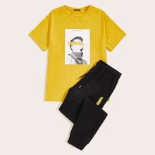 Men Figure Graphic Tee and Drawstring Waist Sweatpants Set
