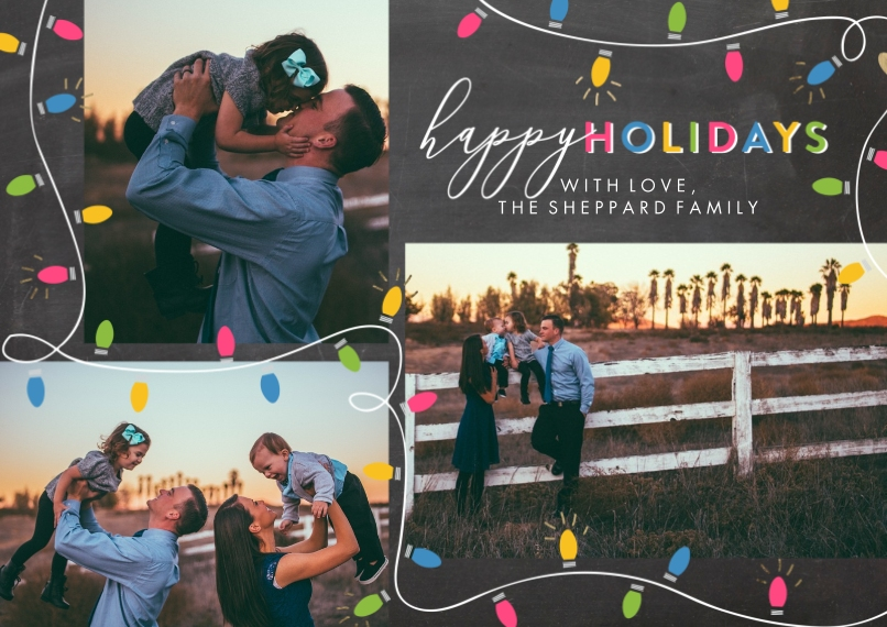 Holiday Photo Cards 5x7 Cards, Premium Cardstock 120lb with Elegant Corners, Card & Stationery -Holiday Festive Lights by Tumbalina