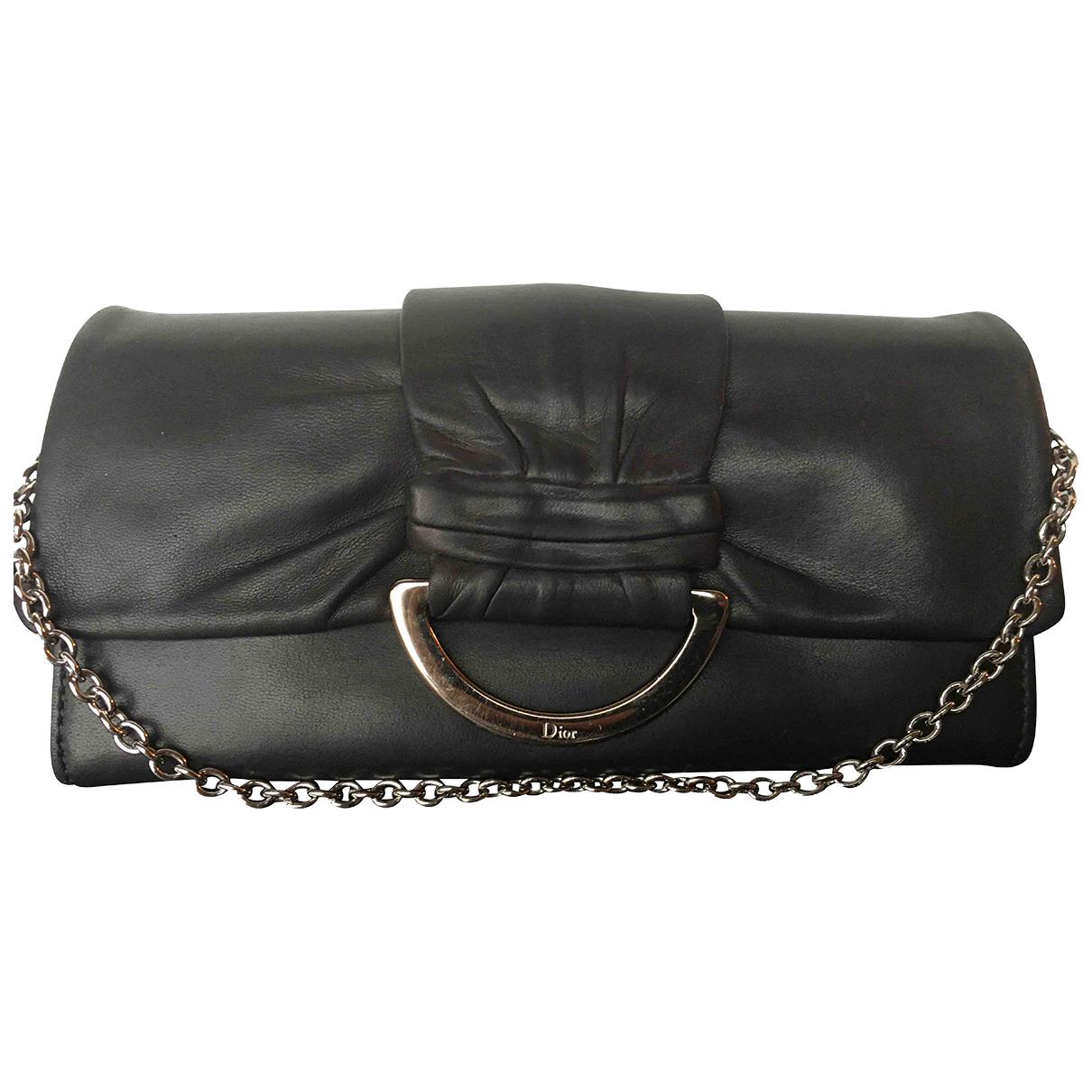 Dior - Pochette   pour femme en cuir - anthracite