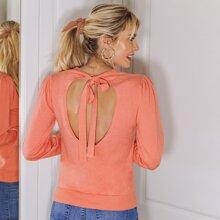 Jersey de manga farol de espalda abierta con nudo