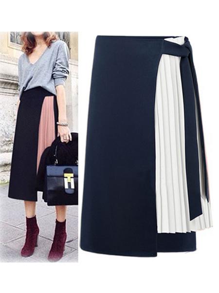 Milanoo Falda Negro de dos tonos de la mujer larga de la gasa Alta subida de la cintura asimetrica Bottoms