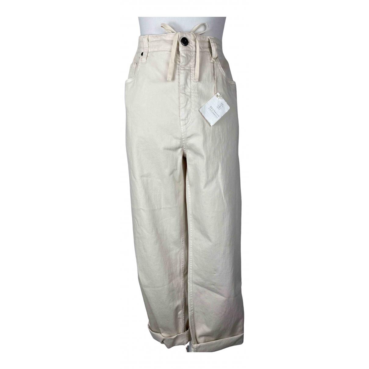 Brunello Cucinelli \N Beige Cotton - elasthane Jeans for Women 40 FR