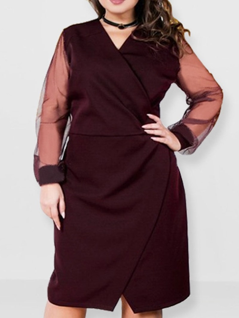Ericdress Plus Size See-Through Mid-Calf Long Sleeve Summer Straight Dress