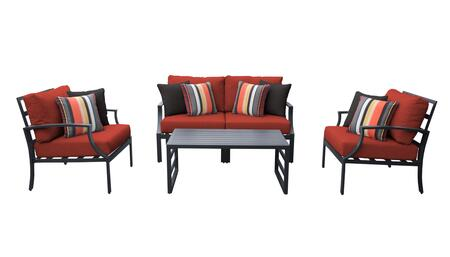 Lexington LEXINGTON-05c-TERRACOTTA 5-Piece Aluminum Patio Set 05c with 1 Left Arm Chair  1 Right Arm Chair  2 Club Chairs and 1 Coffee Table - Ash