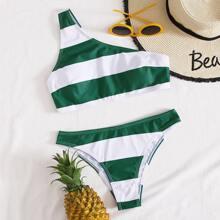 Bikini Badeanzug mit Streifen und einer Schulter