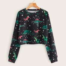 Dinosaur And Galaxy Print Crop Sweatshirt