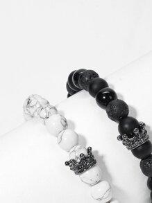 Guys Marble Pattern Beaded Bracelet Set 2pcs
