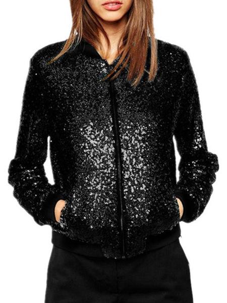 Milanoo Women Bomber Jackets Sequins Notched Neckline Long Sleeve Black Winter Jacket