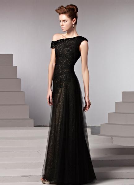 Milanoo Vestido de noche de saten elastico de color negro sin mangas