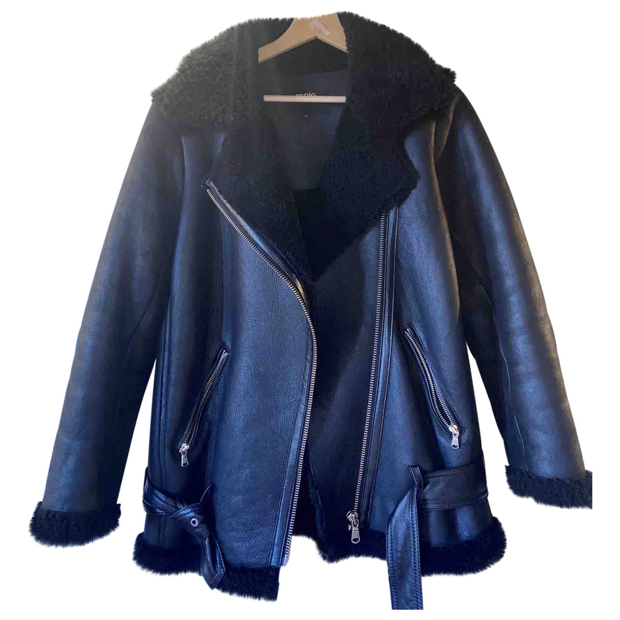 Maje Fall Winter 2019 Black Shearling jacket for Women 38 FR