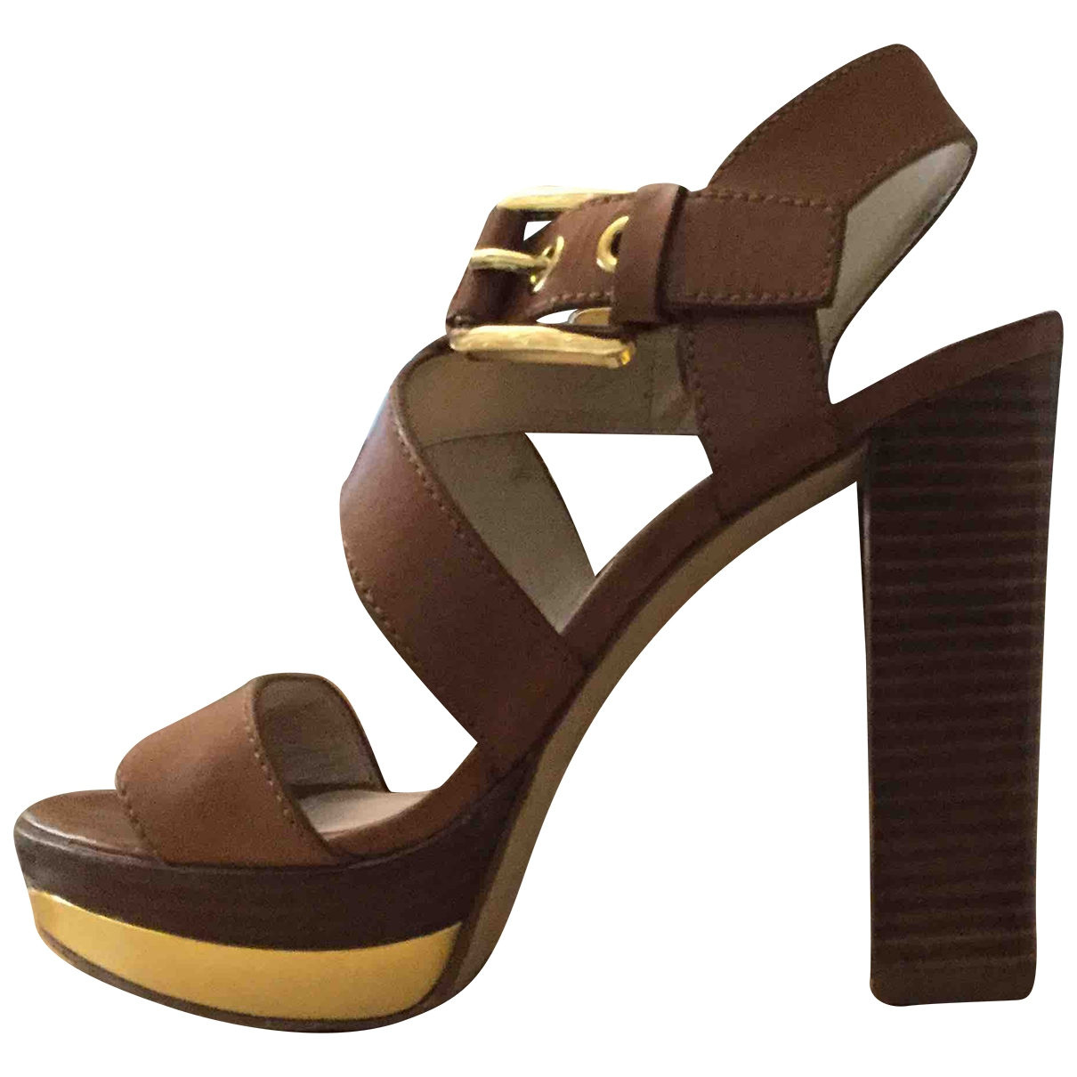 Michael Kors - Sandales   pour femme en cuir - marron