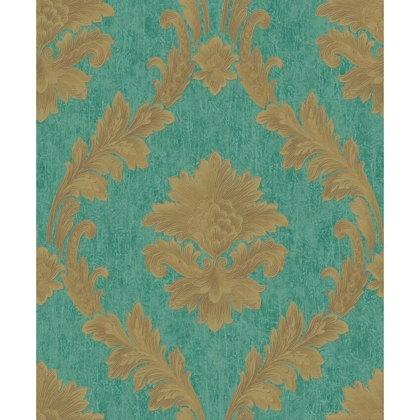 Acanthus Fan Wallpaper, 20.8 in. x 33 ft. = 57.2 sq.ft., in teal/gold (Teal)