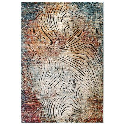 Tribute Collection R-1193A-58 Ember Contemporary Modern Vintage Mosaic 5x8 Area Rug in Multicolored