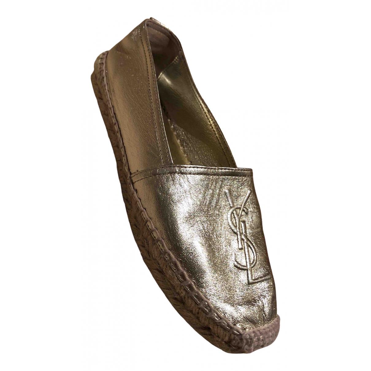 Saint Laurent \N Gold Leather Espadrilles for Women 37 EU