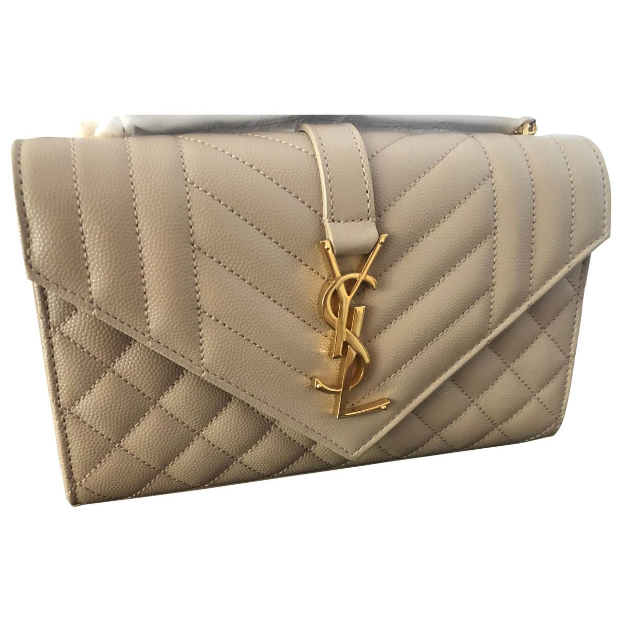 Saint Laurent Satchel monogramme Beige Leather Clutch bag for Women \N