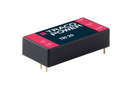 TRACOPOWER TRI 20 20W Isolated DC-DC Converter Through Hole, Voltage in 36 → 75 V dc, Voltage out ±12V dc