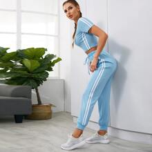 Striped Side Sports Tee With Drawstring Waist Sweatpants